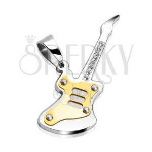 Stainless steel pendant - guitar with gem stones