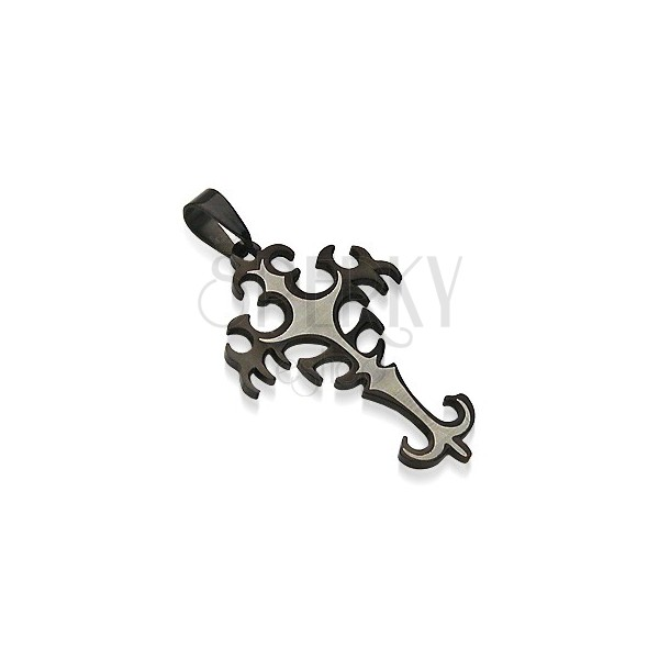 Stainless steel tribal cross pendant