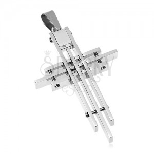 Pendant made of surgical steel, cross composed of thin prisms