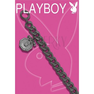 Thick black PLAYBOY bracelet with Bunny in octagon