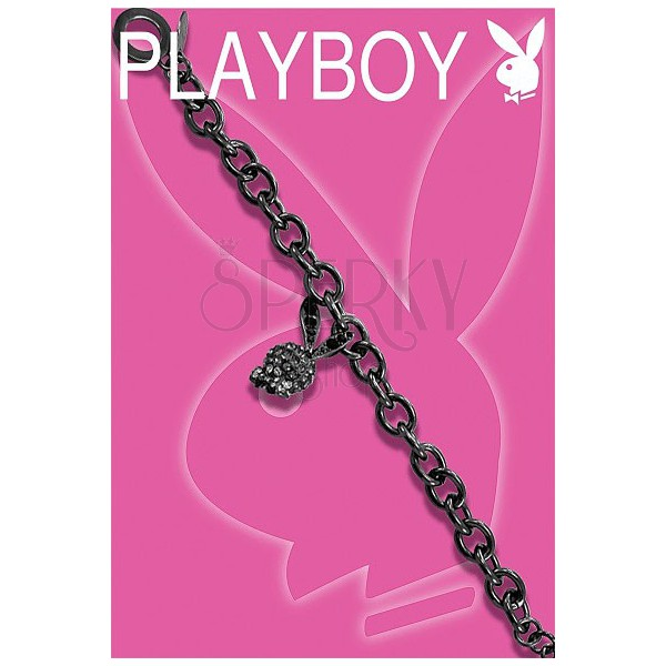 Black PLAYBOY bracelet with 3D Bunny