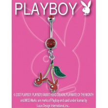 PLAYBOY belly ring with Bunny cherries