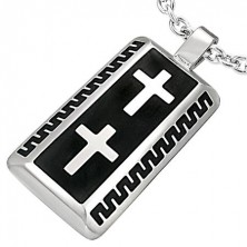 Stainless steel rectangular pendant with two crosses