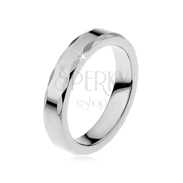 Tungsten ring with ribbon-shaped edge for women