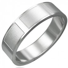 Shiny ring made of steel with matt rectangles