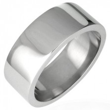 Shiny steel ring, flat - 8 mm