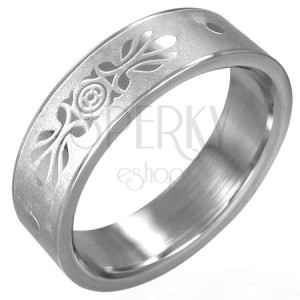 Steel ring with symmetrical decoration - sanded