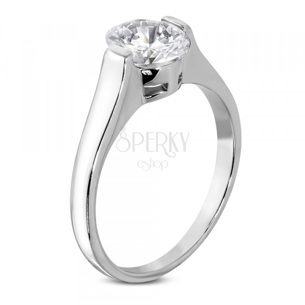 Engagement ring with a big oval zircon