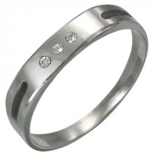 Tungsten ring with two sections and three zircons