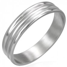 Stainless steel ring with 2 wide lines