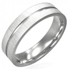 Steel ring with matt sides and shiny central channel
