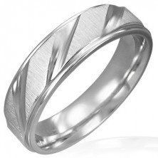 Matt surgical steel band with shiny diagonal lines