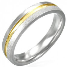 Matt steel ring with gold shiny centre