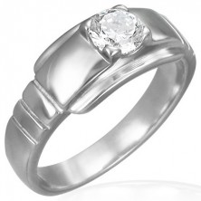 Steel engagement ring with round zircon on wide base