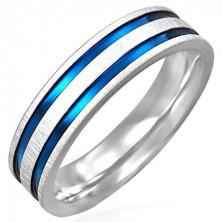 Matt steel ring with two blue-purple stripes