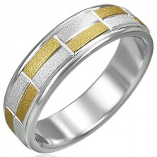 Two-tone ring with small sanded rectangles