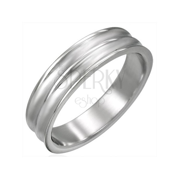 Stainless steel ring with two channels
