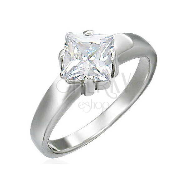 Engagement ring made of stainless steel, square zircon
