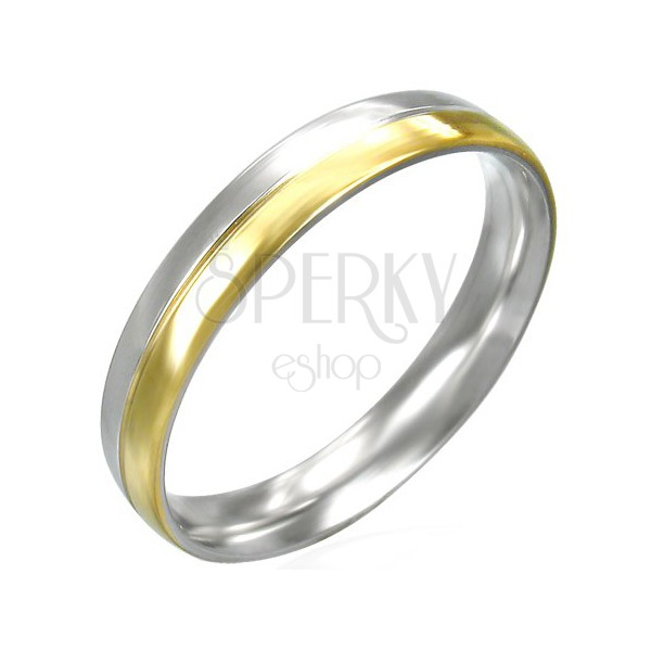 Women's ring made of steel - silver and gold colour combination