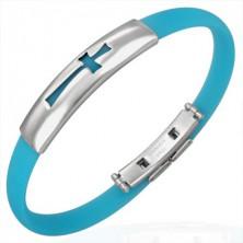 Rubber bracelet - cross pattern, aqua blue