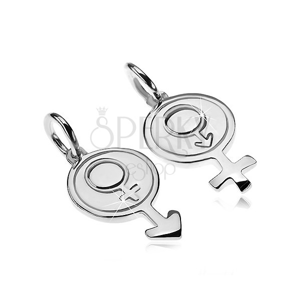 Couple pendants made of 925 silver - male and female gender symbols