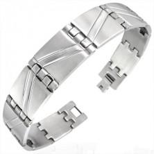 Steel bracelet with matt - shiny zig zag stripes