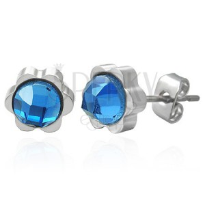 Steel earrings in flower shape with big cut zircon in blue colour