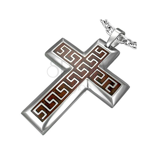 Steel cross pendant with Aztec pattern on brown background