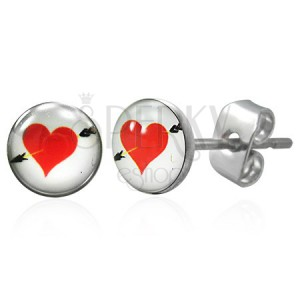 Earrings made of surgical steel - red heart with arrow
