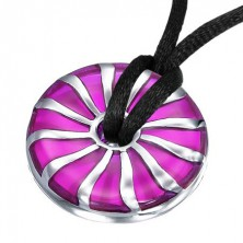 Purple steel pendant with hole in the middle