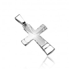 Silver pendant 925 - cross with conical ribbed cut and arcs