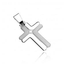 Silver cross 925 - double, matt and bright L