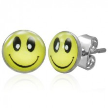 Steel earrings with stud fastening, yellow smiley
