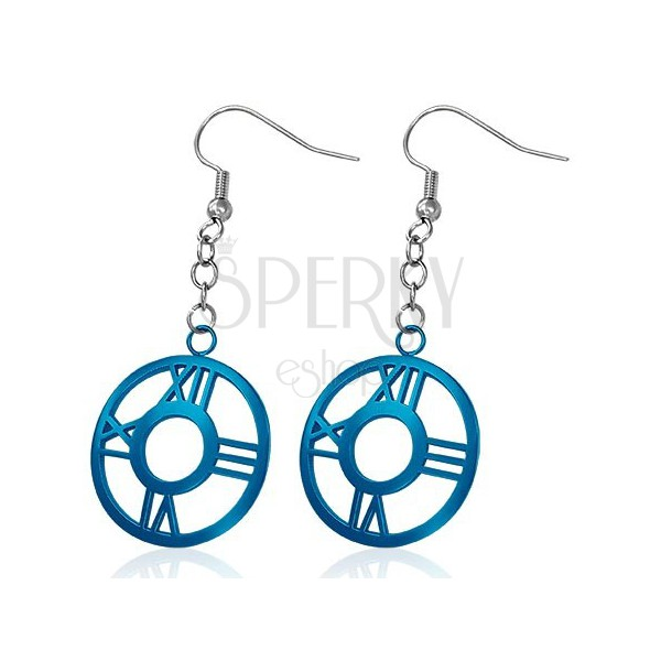 Steel earrings - dark blue circle with Roman numerals