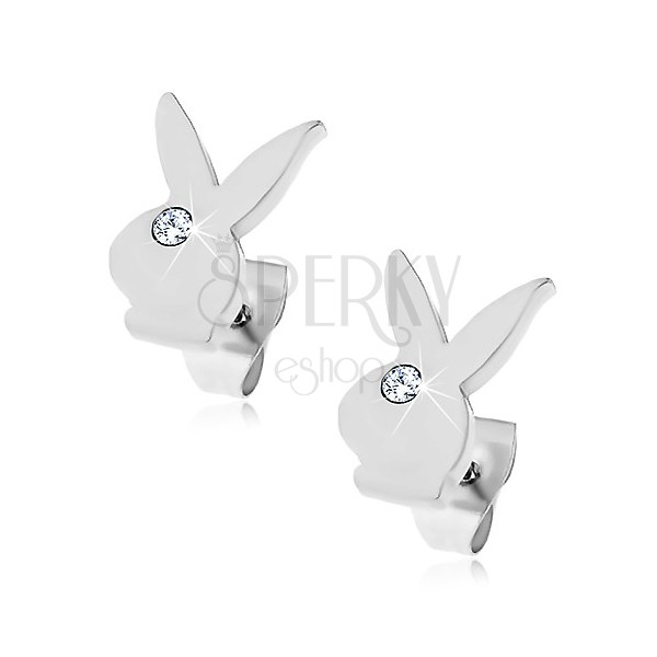 Earrings made of surgical steel - head of a bunny, clear zircon