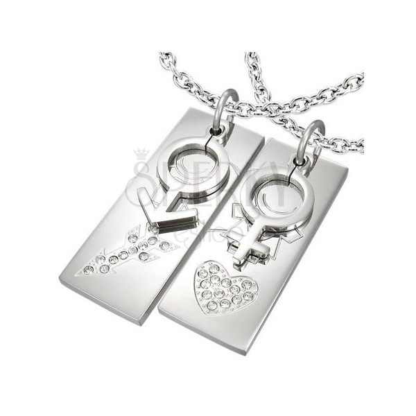 Pendants made of stainless steel - halved heart with arrow and zircons