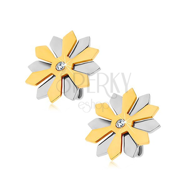 Steel earrings - flower with petals in gold and silver colours and zircon