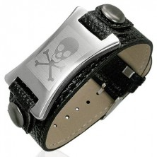 Imitation leather bracelet with steel tag - skull