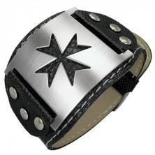 Snakeskin imitation bracelet with Maltese cross