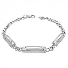 Bracelet made of surgical steel, silver hue, three rolls with diagonal lines