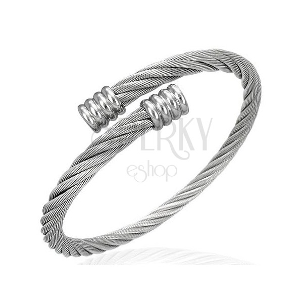 Surgical steel bracelet - narrow twisted shiny wire
