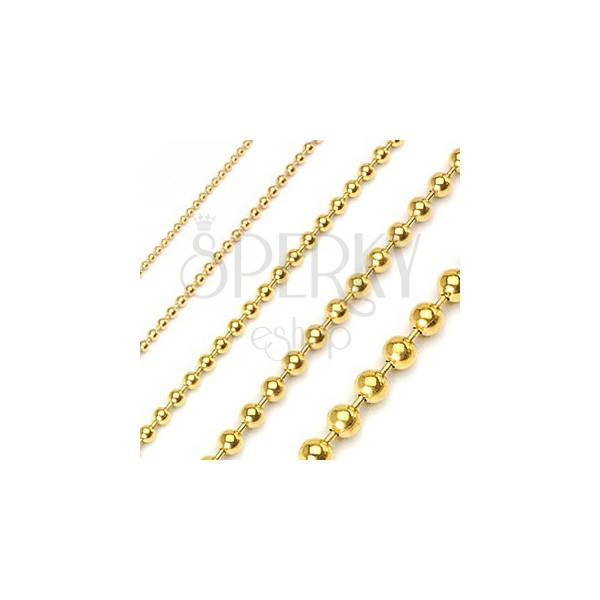 Stainless steel military style ball chain - gold plated