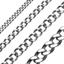 Stainless steel chain, glossy smooth links with flattened surface