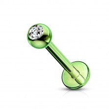 Stainless steel labret - ball with zircon, surface anodized with titanium