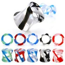 Ear saddle plug piercing - UV pyrex glass