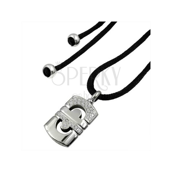 Set of string and geometric steel pendant with zircons
