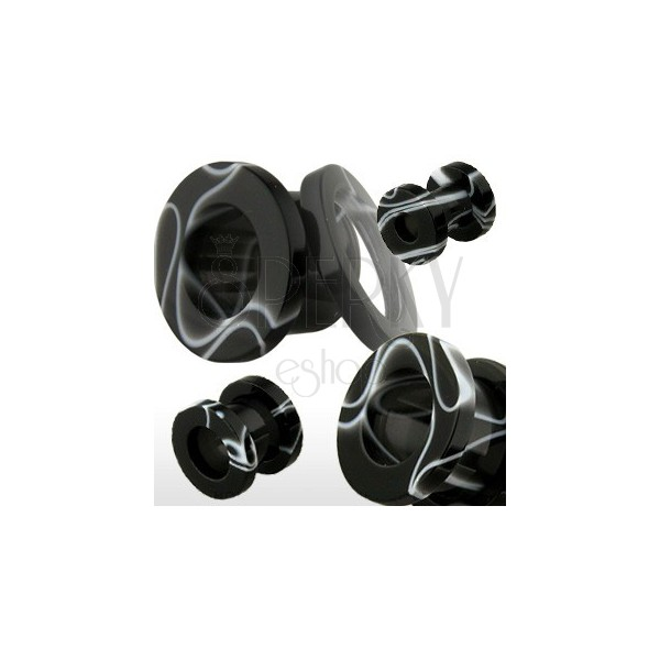 Acrylic ear tunel, black with white marble pattern